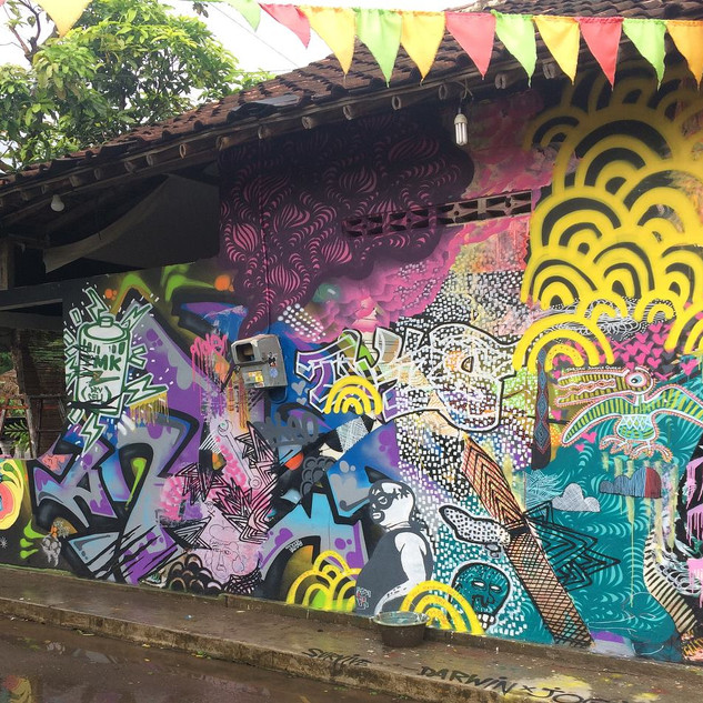 Myself and five other Darwin Artists were selected to participate in the 'Asia in Darwin' 2018 project. Together with a number of Artists from Jogjakarta - we created this beautiful mural on the walls of the well known 'SURVIVE GARAGE' gallery in Jogjakarta. My paste up works are focusing on gender, removing the power imbalence and a series of hand drawn pictures