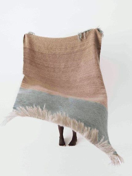 Ninevites Throw Blue and Taupe
