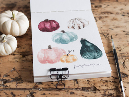 How to Paint Watercolor Pumpkins