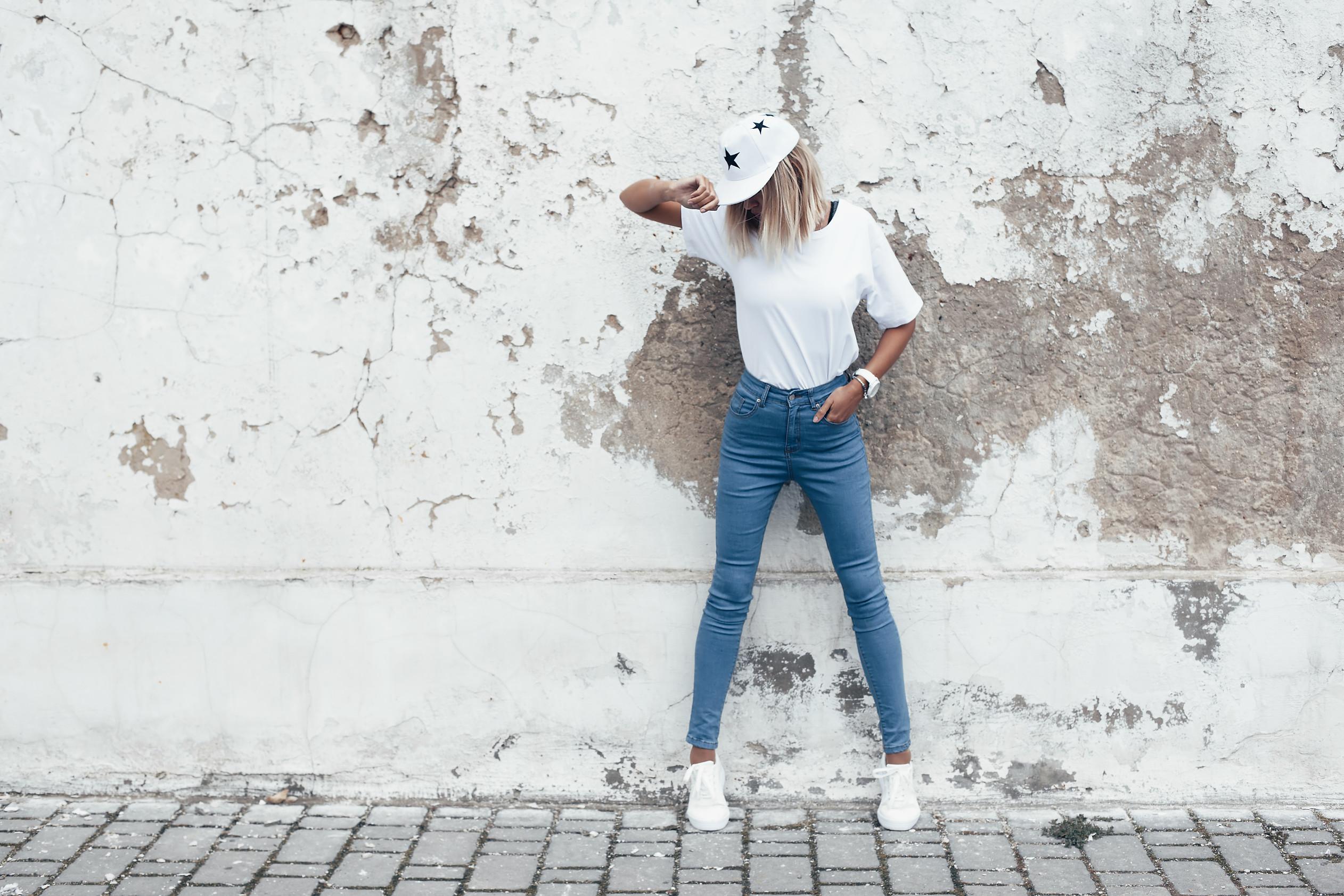 Hipster girl wearing blank white t-shirt