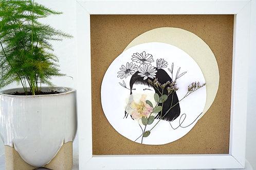 Daisy Birth Woman - Framed Mixed Media w/ Dried Flowers (Copy)