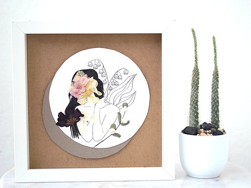 Lily of The Valley Birth Woman - Framed Mixed Media w/ Dried Flowers (Copy)