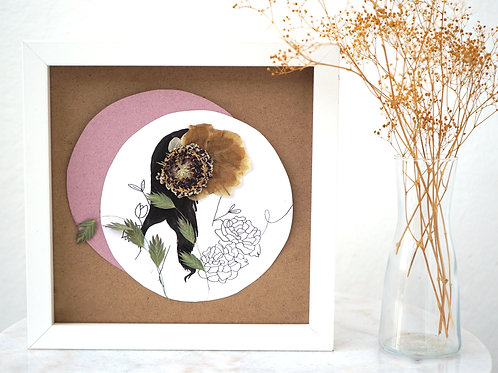 Rose Birth Woman - Framed Mixed Media w/ Dried Flowers (Copy)