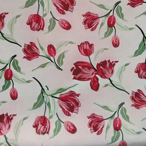 Tecido Suede Coleção Madri tulipas vermelhas