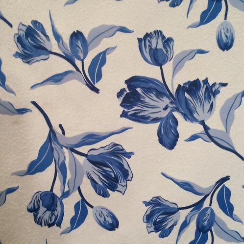 Tecido Suede Coleção Madri Floral Azul 01