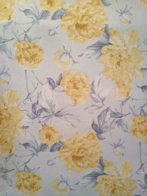 Tecido Suede Coleção Madri floral amarela
