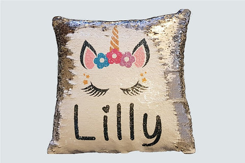 Personalised Sequin Pillow - Silver/White