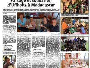 Article de l'Alsace suite à la mission de juillet 2015