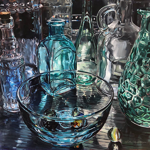 Glass Of Blues 18x18 (21x21 framed)