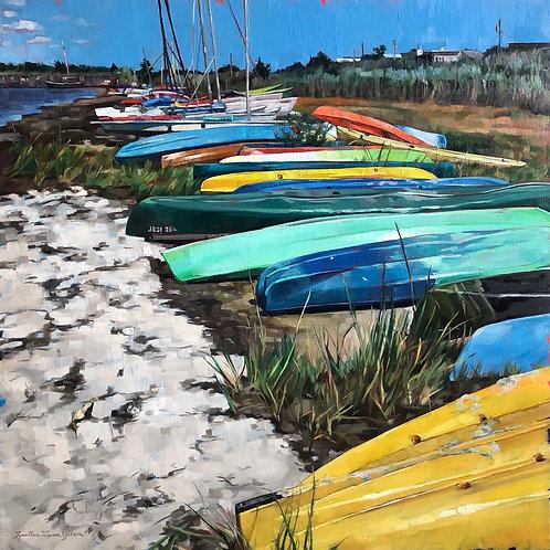 A Sleeping Herd Of Sea Kayaks (26x26 framed)