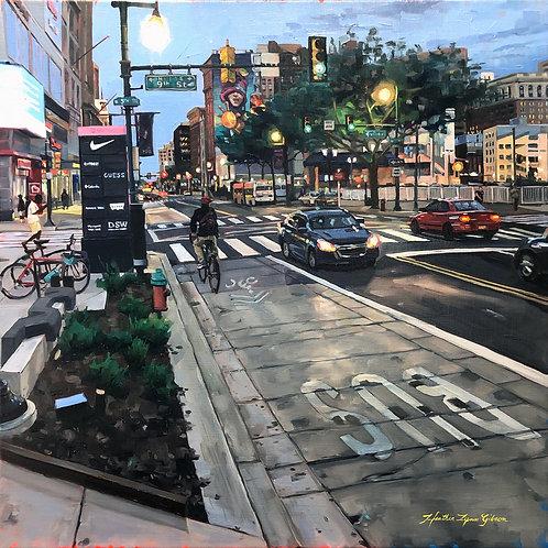"""9th Street At Dusk 20""""x20""""(23""""x23"""" framed)"""