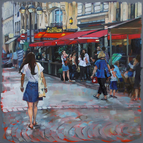 Gathering At Cafe Roussillon 20x20