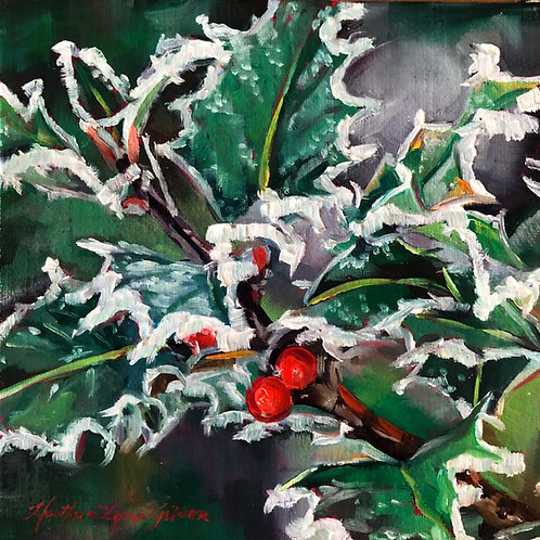 Iced Holly (6x6 canvas, 12x12 framed)