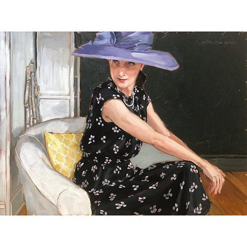 My Purple Hat 28x18 (34x24 framed size)