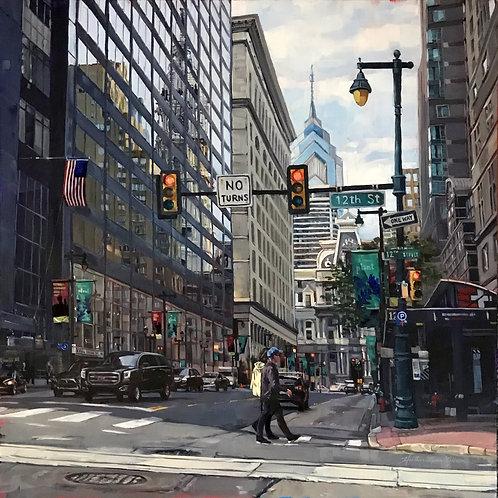 Pedestrians On 12th Street (27x27framed)