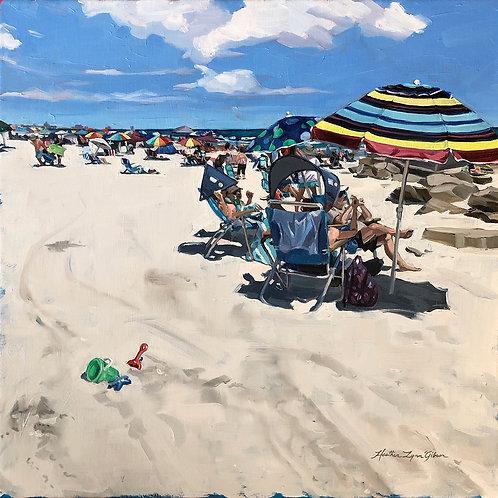 Afternoon Sunbathers 18x18 canvas (21x21 framed)