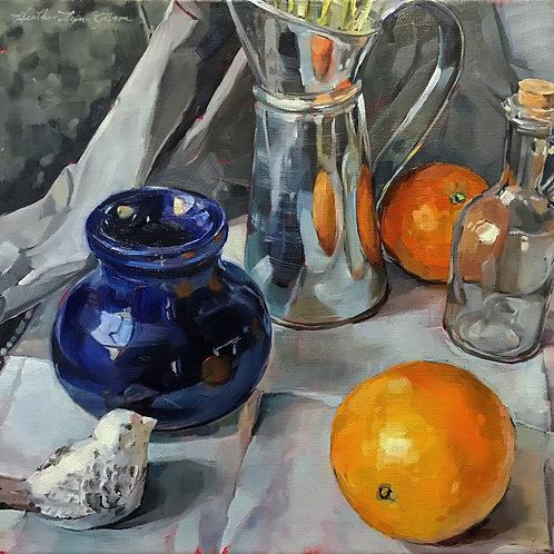 Deep Blue And Oranges 20 x 20 framed