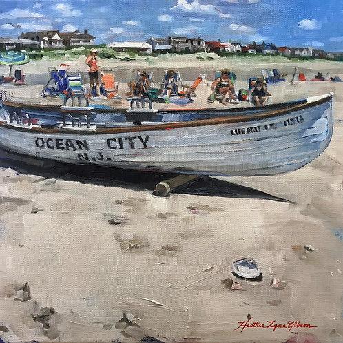 Ocean City Life Boat 12x12 (20x20 framed)