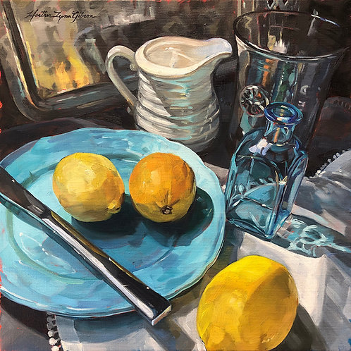 Dark Grey Glass And Lemons 12x12 (20x20 framed size)