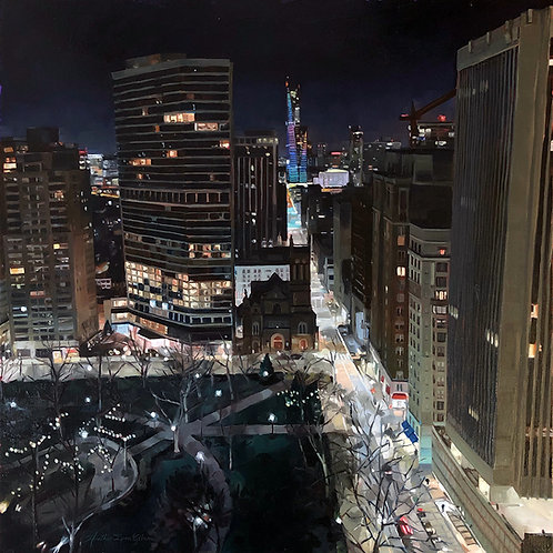 Winter Night In The City 24x24 (27x27 framed)