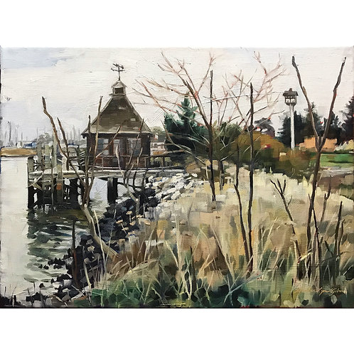 Boathouse And Birdhouse 16x12 (24x20 framed)