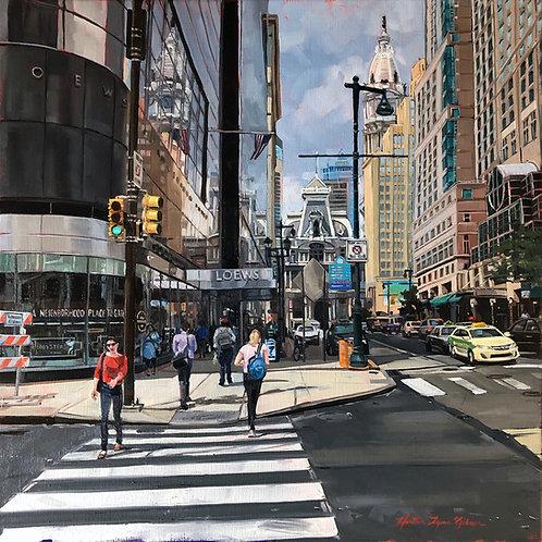 Loews On Market Street 20x20 (23x23 framed)