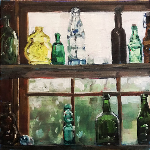 Kirby Mill Glass Bottles 12x12 framed