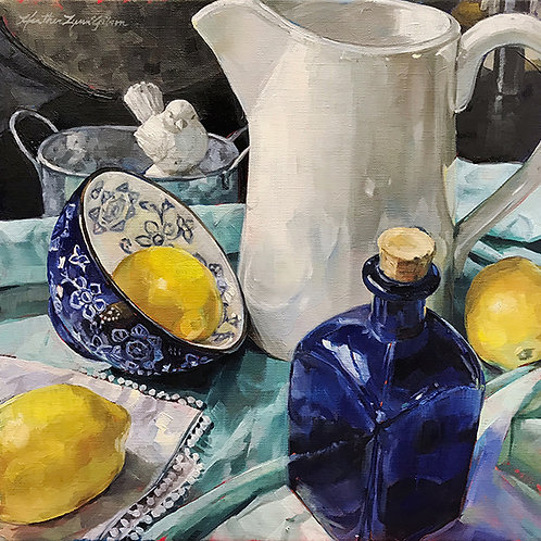 Bright Day With Lemons (20x20 framed)