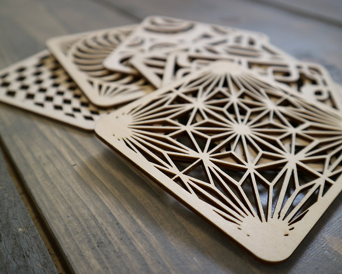 70s Geometric Wooden coasters, 100mm square. Set of 6