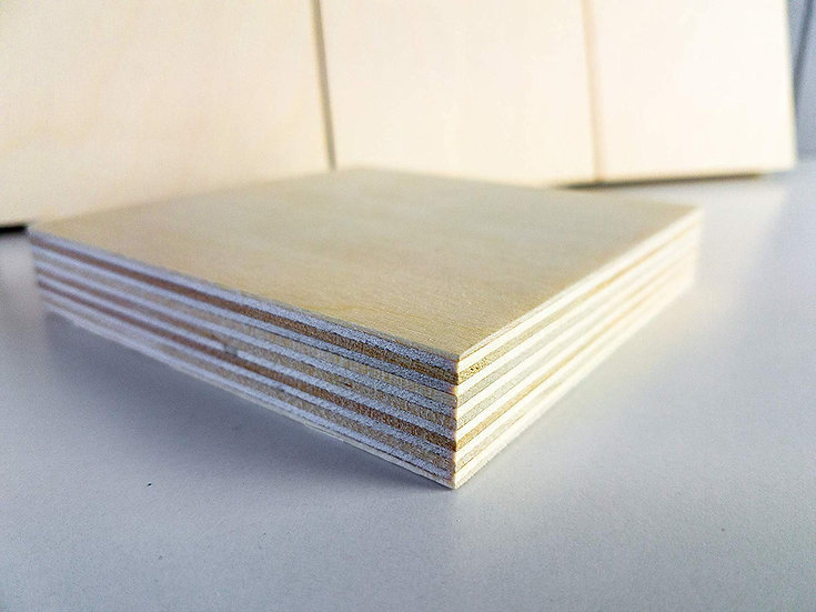 18mm Baltic Birch Plywood Artist Painting Boards Blocks Squares 5 Pack