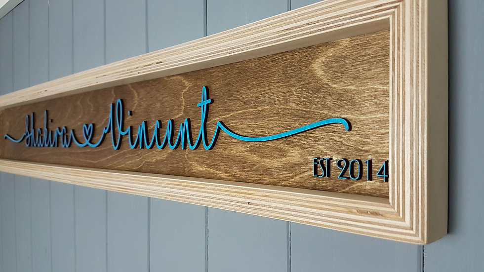 Plywood Frame Deluxe Couple Established Sign - Wedding, Birthday, House warming