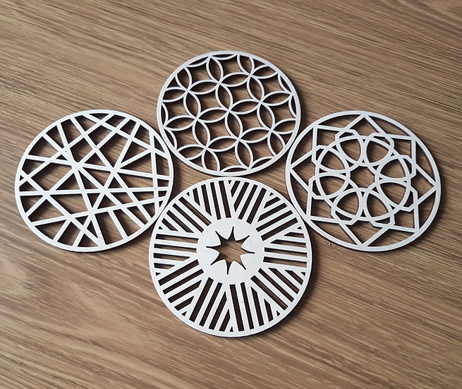 """Round Geometric Coasters x 4 - 100mm / 4"""" Perfect to sit your morning coffee on."""
