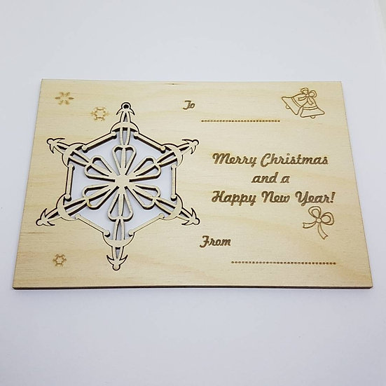 Christmas Bauble card -Snowflake 1 - Birch Plywood 4mm