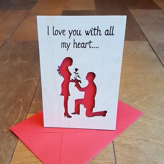 Valentines Card - Man on one knee