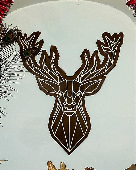 3D Geometric Stag / Buck head - White on Walnut