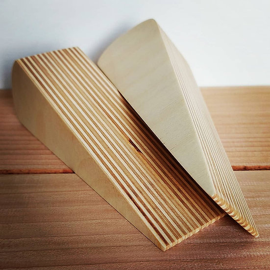 Birch Plywood Door Stop Twin Pack - Beautifully finished with food safe wax.