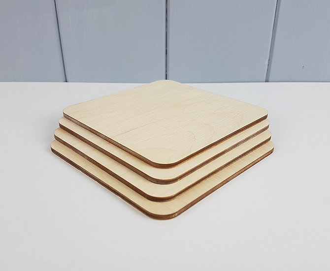 3mm Drink Coaster Blank - Wooden Birch Plywood Laser Cut - Pack of 4 - 100mm 4""