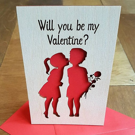 Valentines Card - Girl and Boy kissing