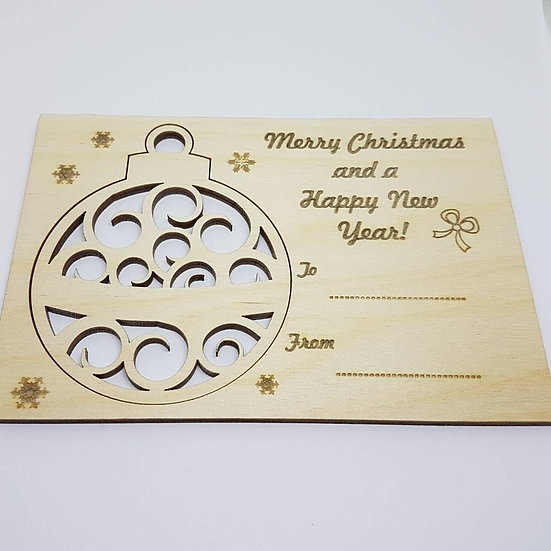 Christmas Bauble card - Curls - Birch Plywood 4mm