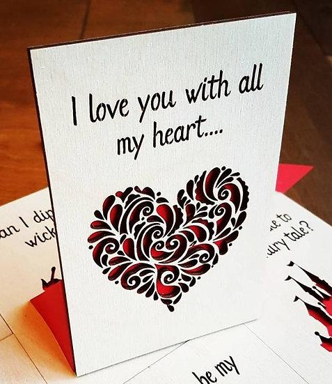 Valentines Card -Heart Swirls