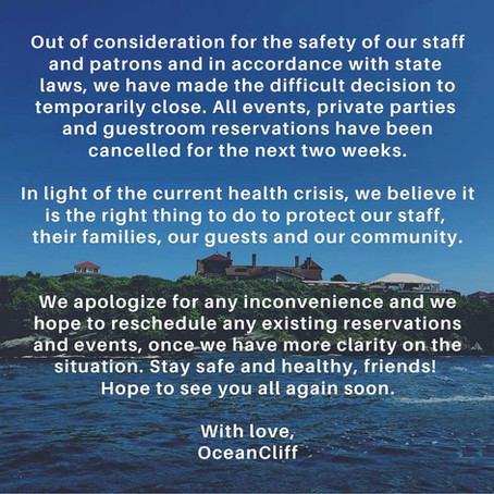 OceanCliff to close temporarily