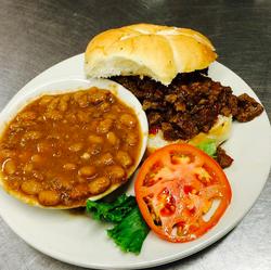Brisker Sandwich with BBQ Beans