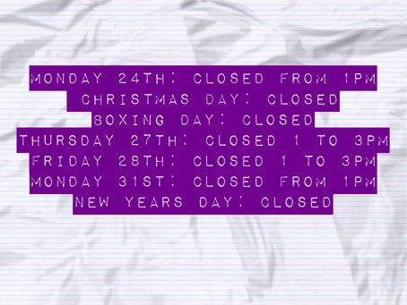 Holiday Period Opening Hours