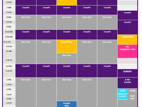 New Thursday Structure & New Sunday Class