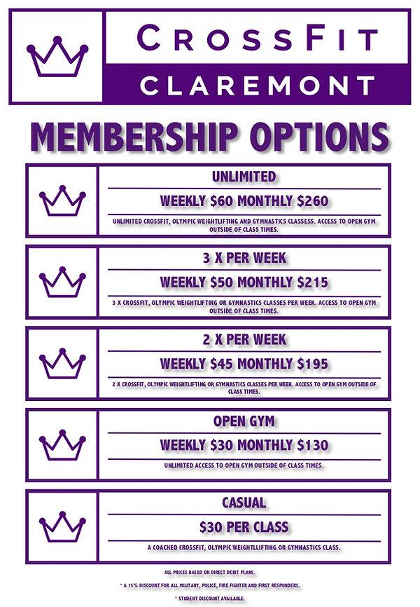 CrossFit Claremont membership options