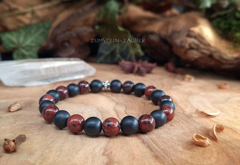 Turmalin und Mahagoni Obsidian Armband