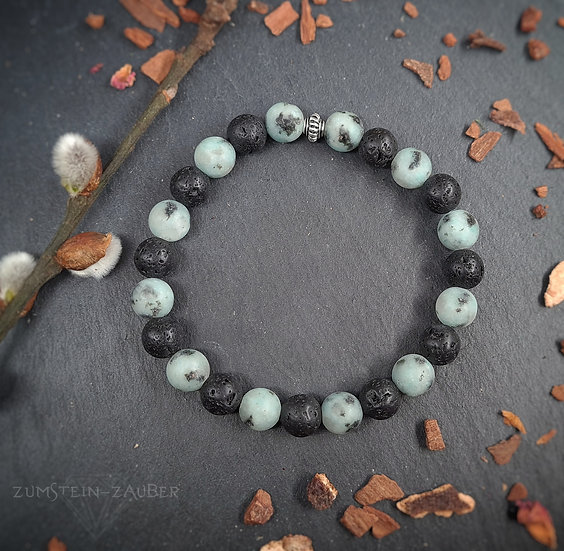 Kiwi Stein und Lava Armband