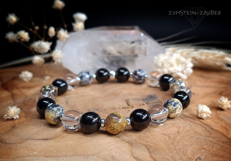 Turmalin, Moosopal und Bergkristall Armband