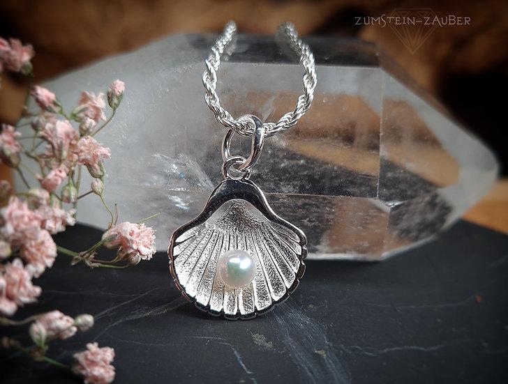 Silber Muschel mit Perle Anhänger