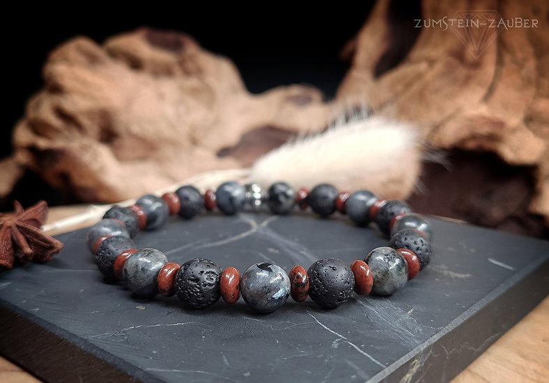 Larvikit, Mahagoni Obsidian und Lava Armband